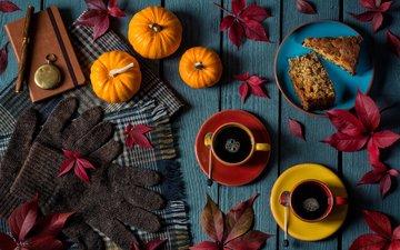листья, осень, кофе, чашки, выпечка, тыквы, перчатки, натюрморт, пирожное, marcus rodriguez