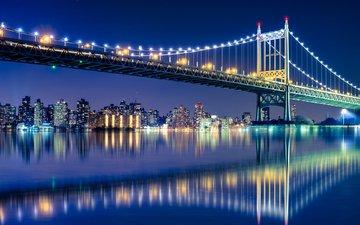 ночь, огни, мост, город, манхэттен, бруклинский мост
