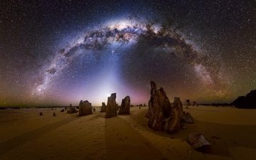 ночь, скалы, природа, пейзаж, звезды, пустыня, млечный путь
