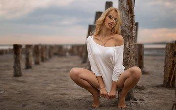 берег, девушка, поза, блондинка, masha blaginina