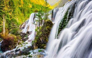 река, природа, водопад, осень, китай