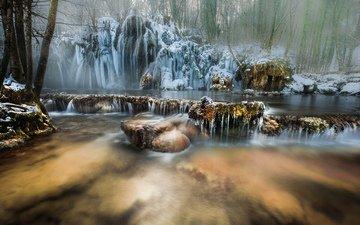 река, природа, лес, зима, водопад