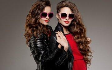 стиль, очки, девушки, волосы, лицо, макияж, модели