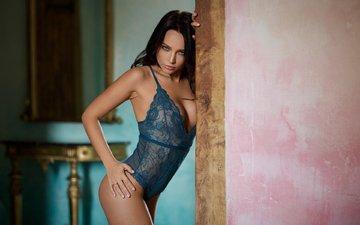 brunette, model, hair, underwear, angelina petrova, ralph wietek