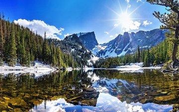 озеро, горы, природа, лес, зима, пейзаж
