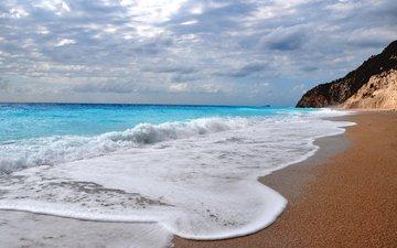облака, волны, пейзаж, море, скала, песок, пляж, горизонт
