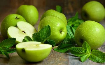 мята, капли, фрукты, яблоки, зеленые, половинки