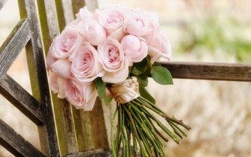 цветы, розы, букет, свадебный букет