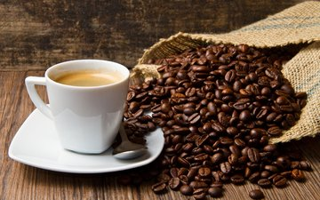 зерна, кофе, чашка, кофейные зерна, мешковина
