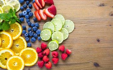 мята, малина, фрукты, клубника, лимон, ягоды, лайм, черника, цитрусы