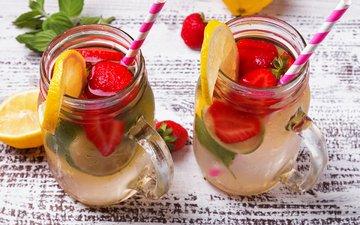 мята, напиток, фрукты, клубника, лимон, ягоды, лайм, стаканы