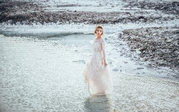 берег, девушка, море, платье, модель, прогулка, белое платье
