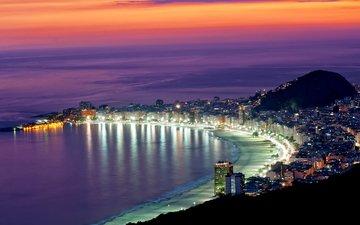 пляж, город, бразилия, рио-де-жанейро, пляж копакабана
