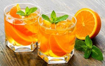 мята, напиток, апельсины, лёд, коктейль, цитрусы