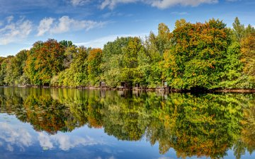 небо, облака, деревья, река, природа, лес, отражение