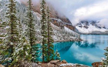озеро, горы, природа, лес, зима, пейзаж, канада, банф