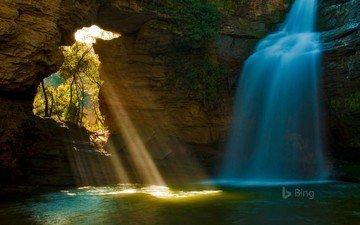 река, скала, водопад, пещера, испания, bing, каталония