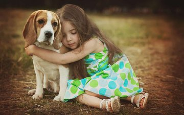 dog, girl, child, friends, beagle