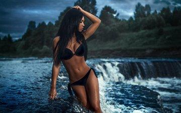 девушка, брюнетка, модель, купальник, длинные волосы, сергей александров, sergey aleksandrov