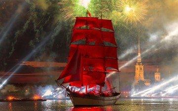 ночь, салют, корабль, россия, санкт-петербург, праздник, алые паруса