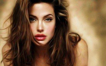 девушка, взгляд, волосы, лицо, актриса, анджелина джоли
