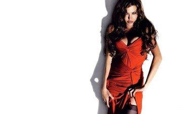 девушка, взгляд, волосы, лицо, анджелина джоли, красное платье