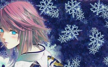 девушка, аниме, megurine luka, голубые глаза, розовые волосы, мику хацунэ, samune zim