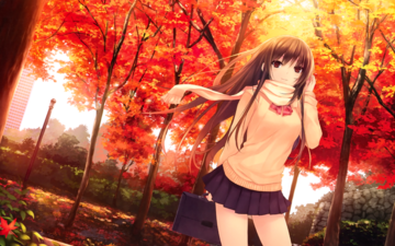 trees, forest, leaves, girl, background, look, autumn, the sun's rays, long hair