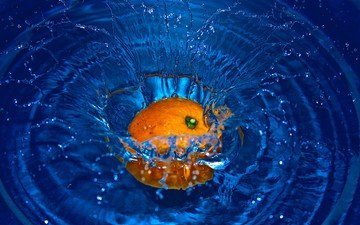 вода, фрукты, брызги, апельсин, всплеск