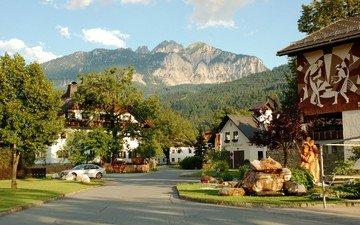 дорога, деревья, город, австрия, дома, городок
