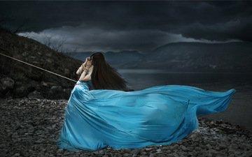природа, девушка, платье, ситуация, креатив, веревка