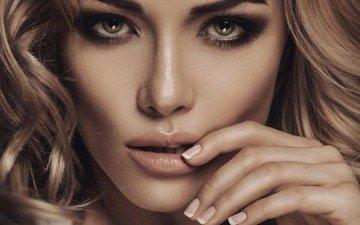девушка, блондинка, портрет, модель