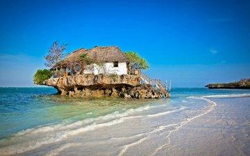 деревья, лестница, пейзаж, море, пляж, дом, остров