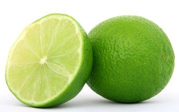 фрукты, белый фон, лайм, цитрусы