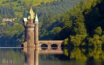lake, forest, reflection, tower, england, wales, lake vyrnwy