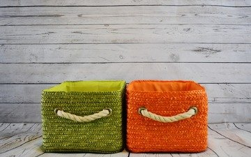 green, background, color, orange, material, cord, basket