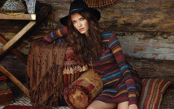 девушка, платье, взгляд, модель, волосы, лицо, шляпа