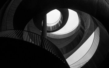 black and white, form, spiral, darkness, round, symmetry