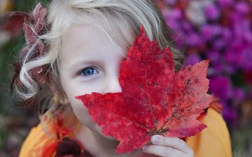 mood, look, girl, hair, face, maple leaf