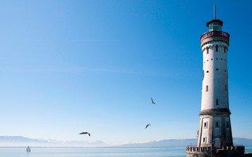 небо, море, маяк, птицы