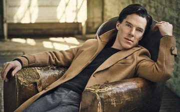pose, actor, sitting, in the chair, photoshoot, coat, pants, 2016, vanity fair, jumper, jason bell, benedict cumberbatch