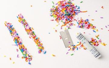 разноцветные, конфеты, деньги, сладкое, посыпка