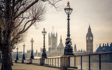 деревья, фонари, река, великобритания, лондон, темза, набережная, биг-бен