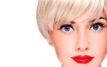 девушка, блондинка, портрет, взгляд, волосы, лицо, макияж, красная помада, стрижка