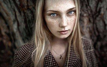глаза, девушка, блондинка, портрет, модель, веснушки, фотосессия, irina dzhul