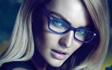 девушка, блондинка, взгляд, очки, модель, волосы, лицо, голубые глаза, кэндис свейнпол