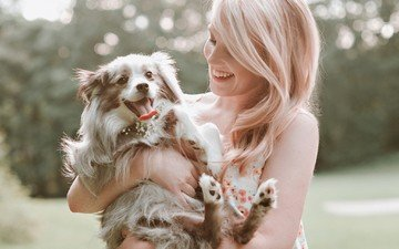 girl, blonde, smile, dog, puppy, language, laughter