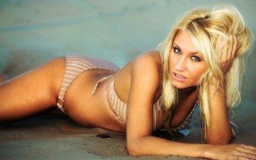 девушка, блондинка, пляж, взгляд, модель, волосы, лицо, купальник, бикини, wbeem, rachael