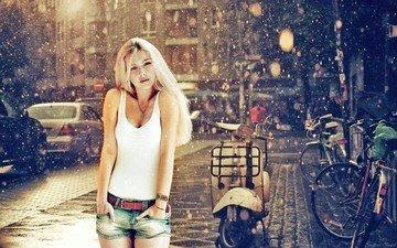 girl, blonde, look, street, jeans, rain, hair, face, mike, is