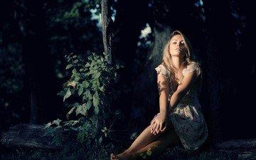 деревья, лес, девушка, платье, блондинка, сумерки